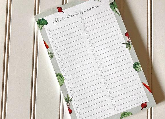 Calpin de note - Liste d'épicerie