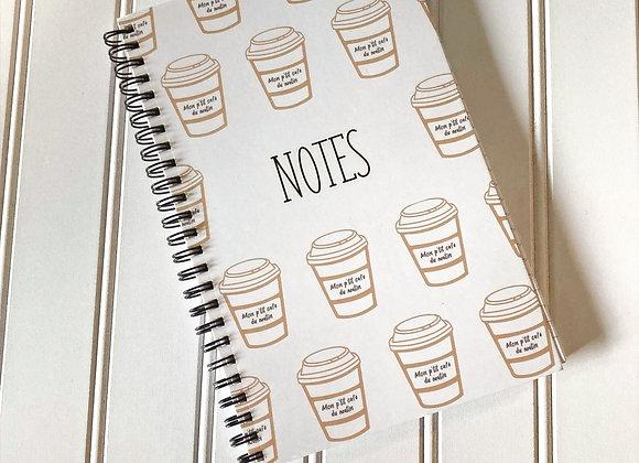Cahier de note - Café du matin