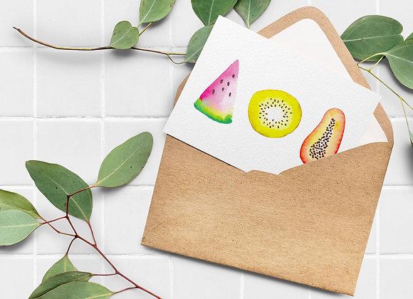 Carte de souhaits - Trois fruits