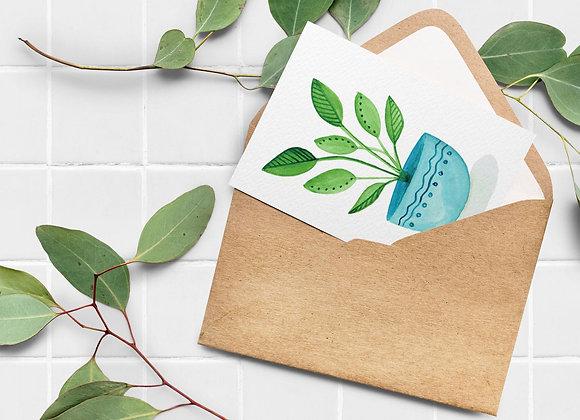 Carte de souhaits - Plante, pot bleu