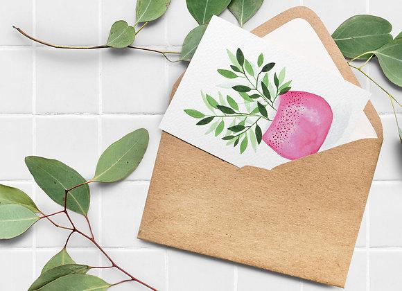 Carte de souhaits - Plante, pot rose