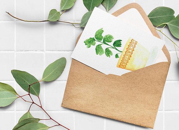 Carte de souhaits - Plante, pot jaune