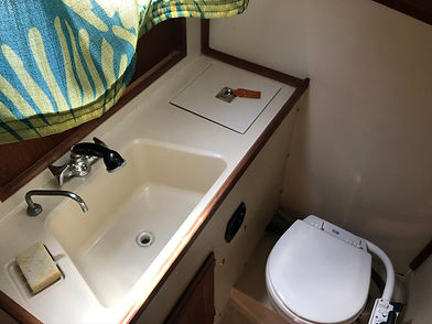Sailboat bathroom available for guest use