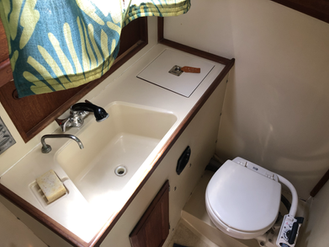 """The bathroom / """"head"""" in our sailboat"""