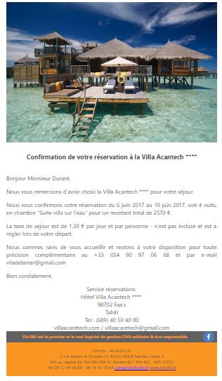 Réservation d'hôtel par email