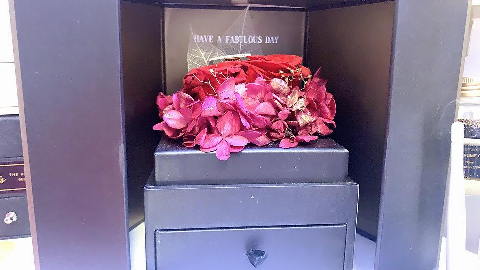 Gift Box - Red Flowers - Black