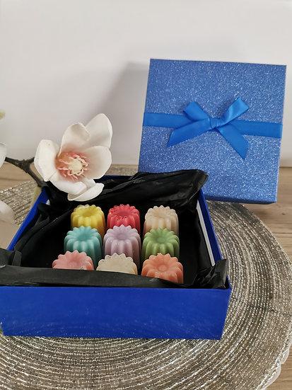 Coffret 9 cannelés boîte bleue pailletée
