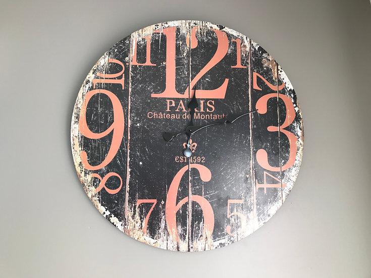 Horloge PARIS noire et rouille