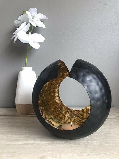 Photophore métal noir/doré