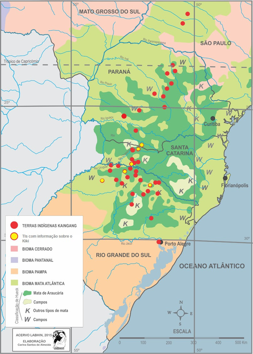 The Kaingang areas were demarcated with the Parana pine