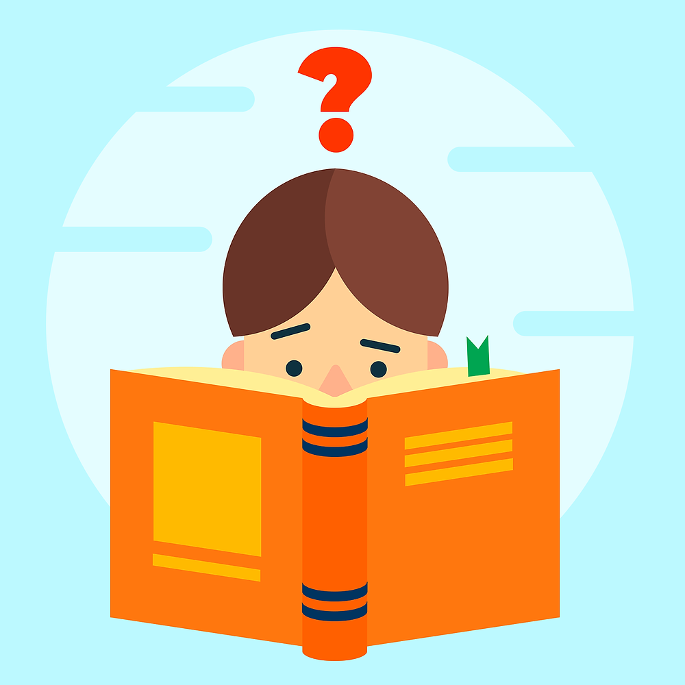 This is a picture of a cartoon man reading an orange book. The man has brown hair, and only his head is visible over the book. The man and the book are set against a light blue background, and there's a red question mark above his head.