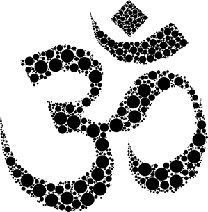 """This is a picture of the holy symbol """"Om."""" It was created with black dots of various sizes, and it consists of three curves, as well as a crescent and a dot. On the left hand side, there are two curves stacked on top of each other, forming the number three. There's another curve that juts out from the first two curves. That curve is pointing downwards. On top of this symbol, there is a crescent with the ends pointing up. On the inside of the crescent is a dot."""