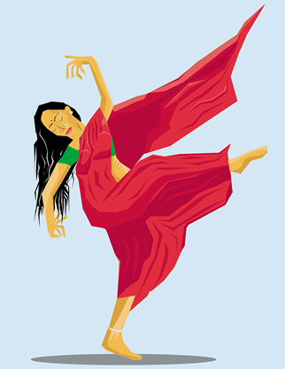 This is an illustration of a woman dancing. She is wearing a green top and a red Saree, and she has long black hair.