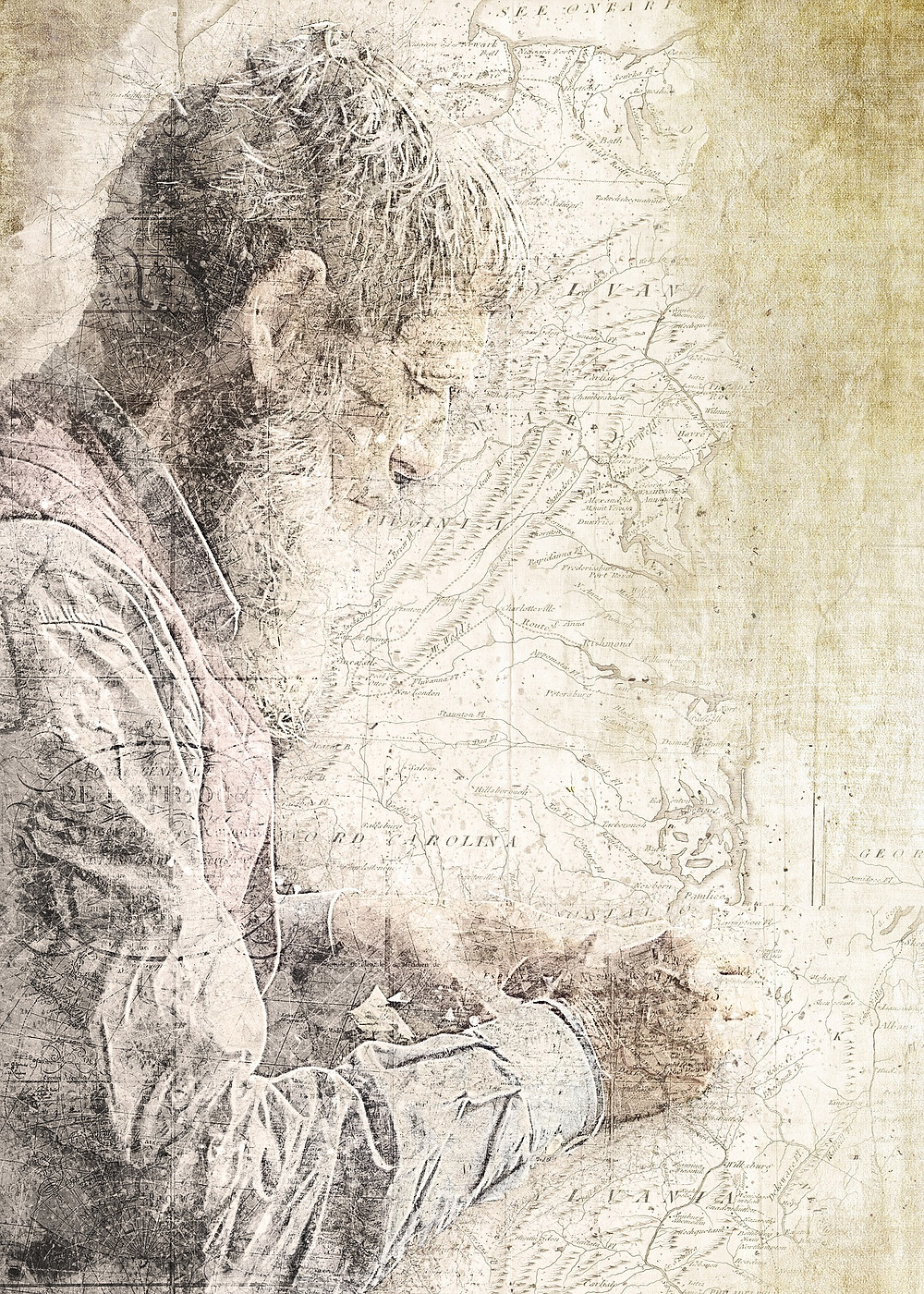 This is a picture of a map with a drawing of a man on top. We can see the profile of the man, who is writing something. The map is of the eastern United States.