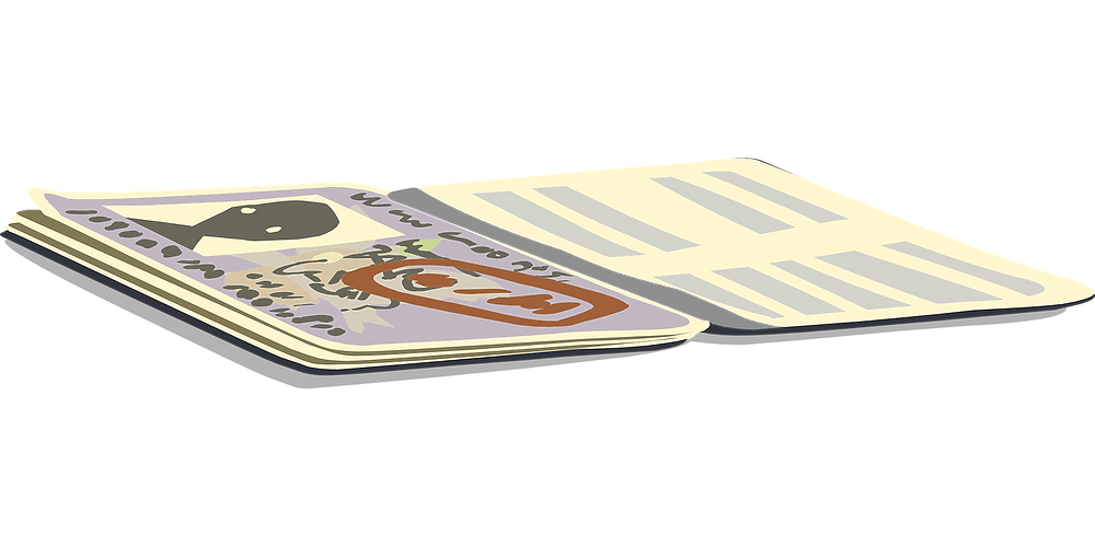 This is an illustration of a passport with the cover open. The cover opens to a picture of a nondescript person and illegible writing.