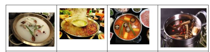 There are four pictures in a row, each showing a different bowl of soup. From left to right: yuan tang (Original Soup, a white soup with green and purple ingredients),  sì chuān má là (Spicy Soup, a reddish-brown soup),  fān qié tāng (Tomato Soup, a red soup with orange, green, and black ingredients), and mó gū tāng (Mushroom Soup, a dark purple soup with mushrooms and red garnishes)..