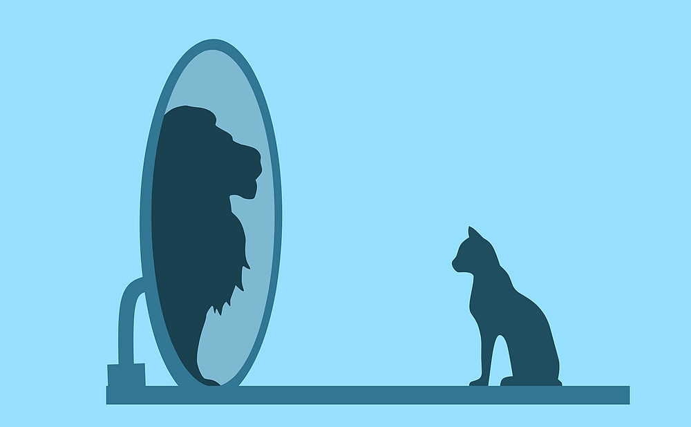 This is an illustration of a navy blue cat silhouette looking into a mirror. The illustration is against a light blue background, and reflecting back is the navy blue silhouette of a lion.