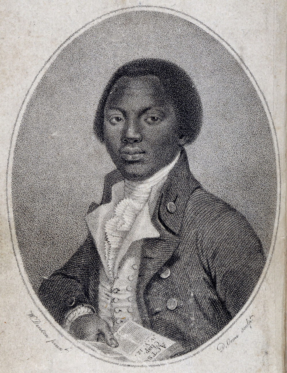 This is an illustration of Olaudah Equiano, a Black man. He's wearing a white dress shirt and a dark jacket that reflect the style of the time.