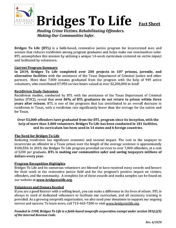 Bridges To Life Fact Sheet - 2020 April.