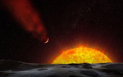 Représentation d'un astéroïde sur fond de soleil en éruption.