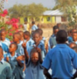 Maasai students entering the O'Brien School for the Maasai