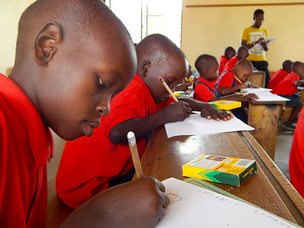Maasai students coloring ith Crayola crayons and pencils