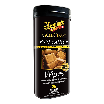 Meguiar's Gold Class Rich Leather Wipes, 25-Pack