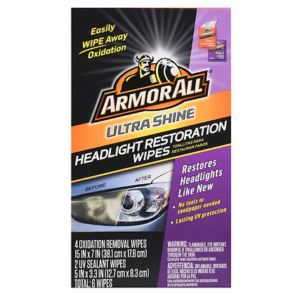 ArmorAll Ultra Shine Headlight Restoration Wipes, 6 Count