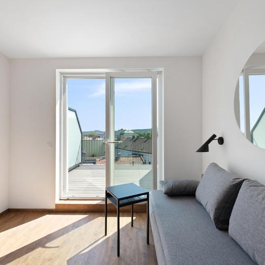 Ausblick auf Balkon im Obergeschoss