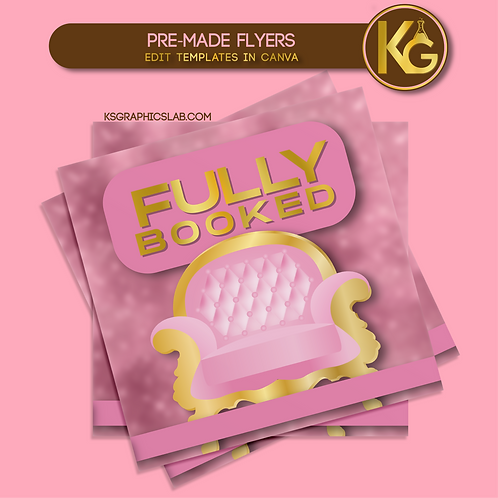 Pre-Made Fully Booked (Pink & Gold) Social Media Flyer