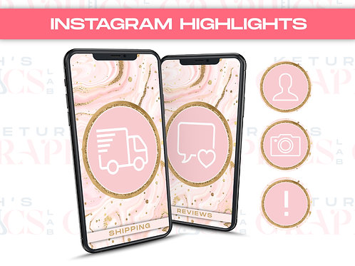 Pink & Gold Marble Glam Instagram Highlights