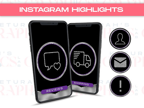 Purple & Silver Glam Instagram Highlights