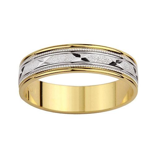 14k Two-tone Gold Men's Milligrain 'X' Design Easy Fit Wedding Band