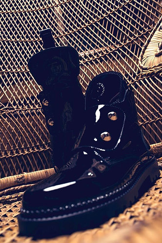 Black lacquer boots