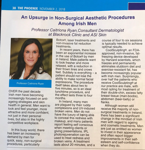 Discussing the Upsurge in Non-surgical Cosmetic Treatments in Irish Men in This Month's Phoenix