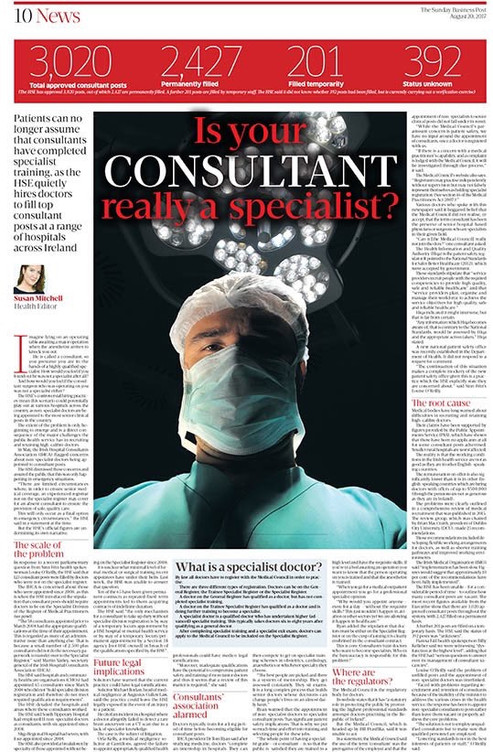 Great article in SBP about the alarming lowering of standards in Irish hospitals