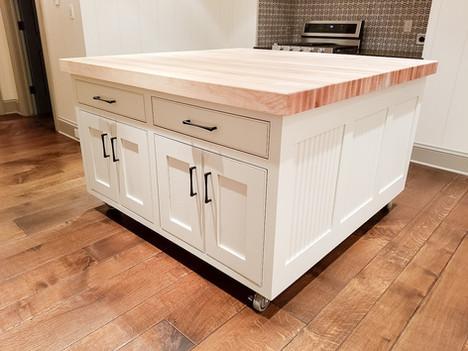 Custom kitchen island with butcher block