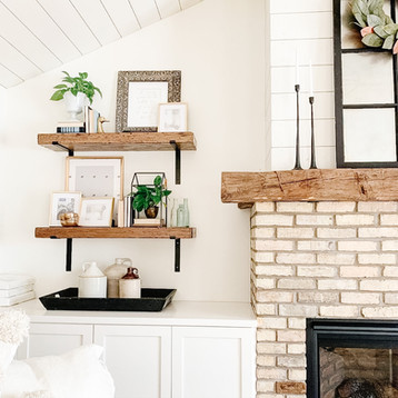 Shelves, Cabinets and Mantle