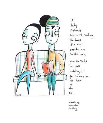'Reading' image by Welbeck Kane, words by Miranda Keeling