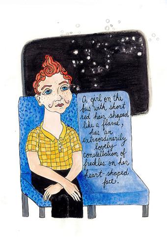 'Flame-red Hair' image by Kristi Moore, words by Miranda Keeling