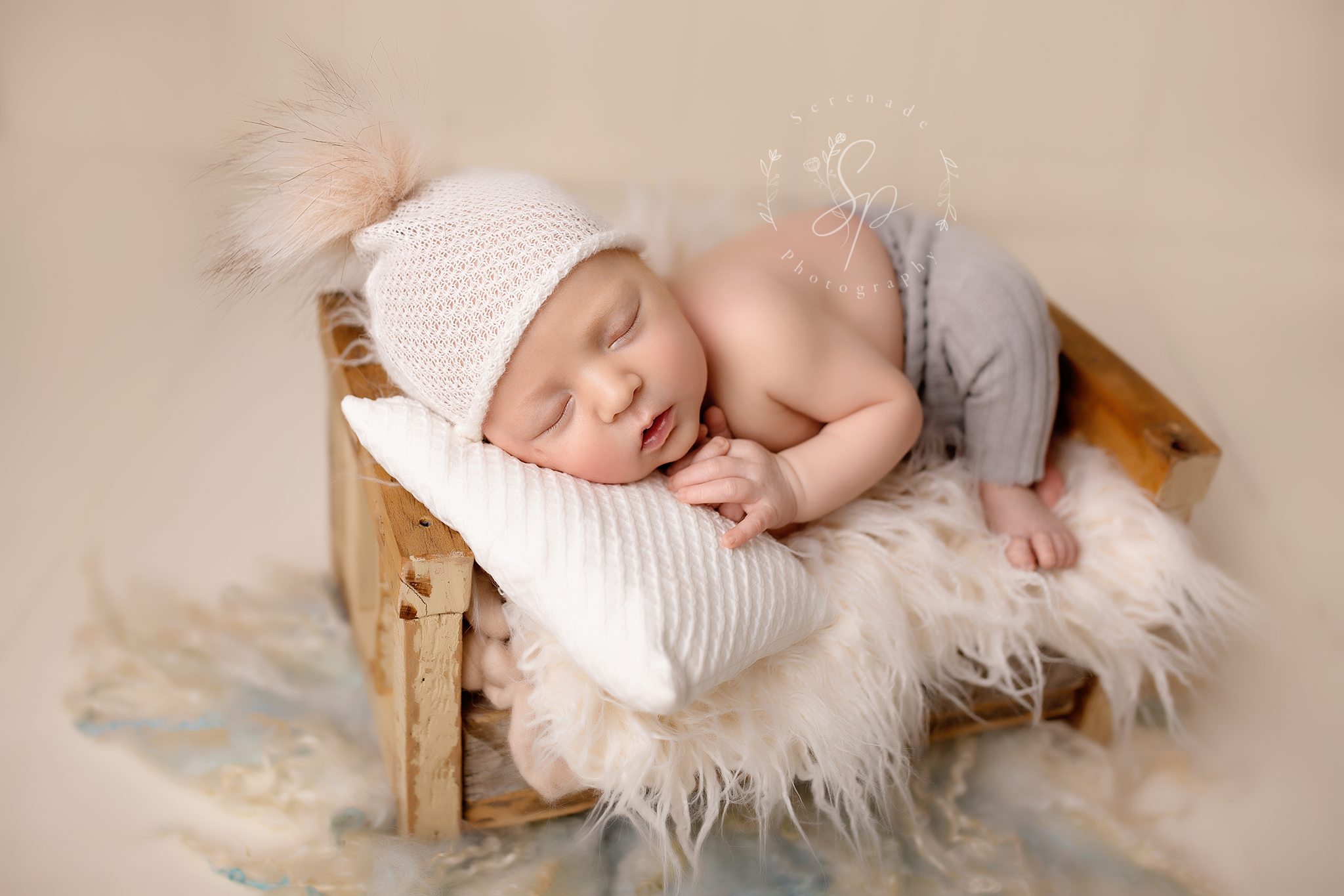 newborn baby oy in little boy in the Chester studio