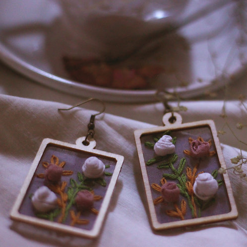 White & Pink Roses Rectangular Earrings With Embroidered Leaves