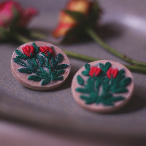 Red Rose Buds Round Embroidered Ear Studs