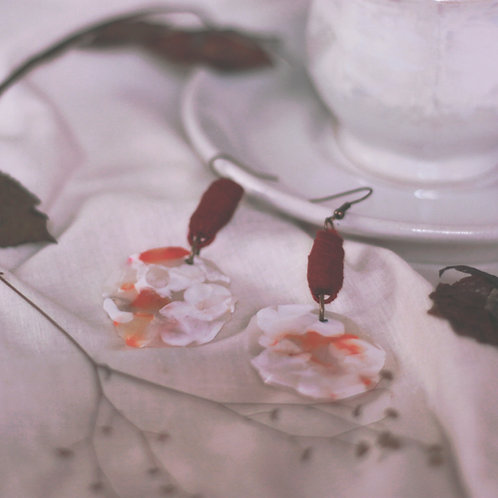 Maroon Rose Layered Circular Marble Earrings