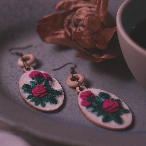 Pink Rose Oval Tiered Embroidered Earrings