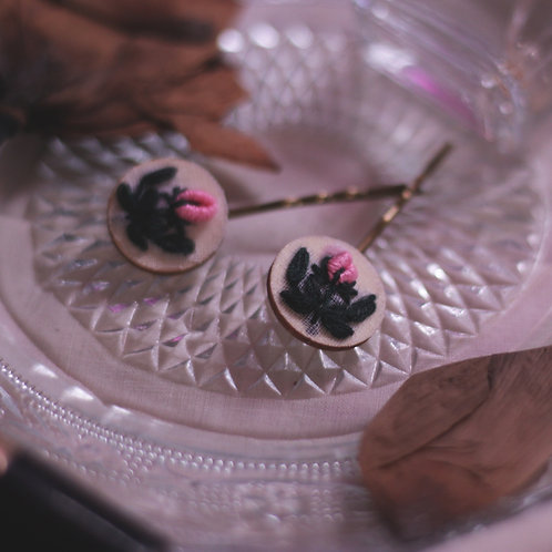 Light Pink Rose Bud Bobby Pins