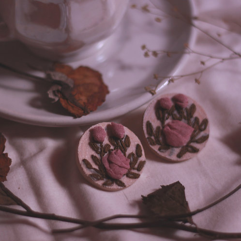 Pink Rose Buds Round Ear Studs
