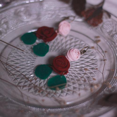 Maroon & Peach Rose Tiered Circle Earrings