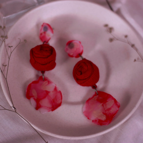 Red Rose Tiered Marble Earrings