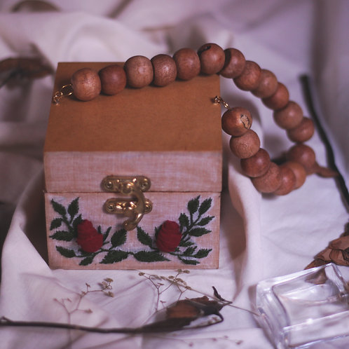 Maroon Rose Branch Wooden Tiny Box Hand Bag